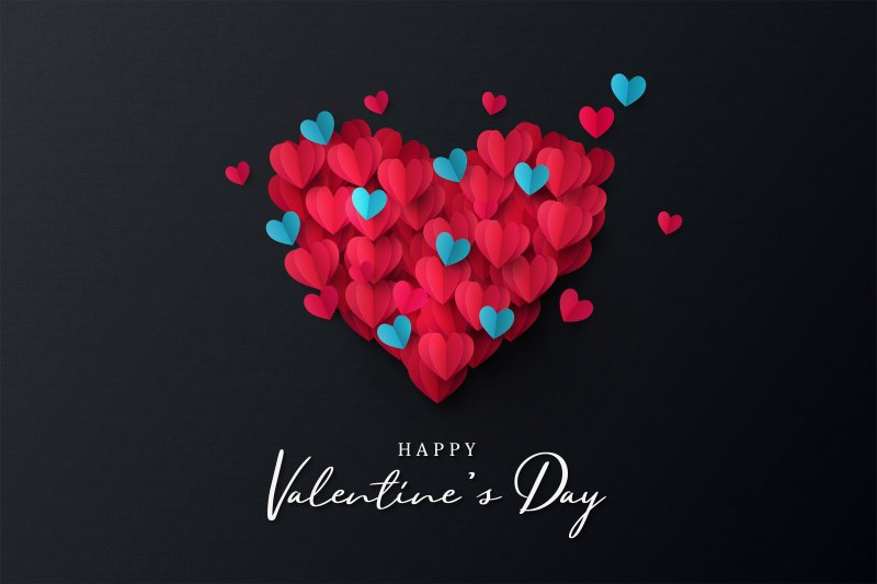 Collection of hearts with the message Happy Valentine's Day