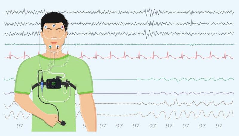 Illustration of a man having a sleep test